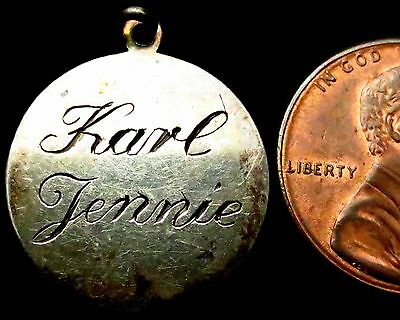 """S434: 1800's US American Silver Disc - Love Token, hand engraved """"KARL & JENNIE"""""""