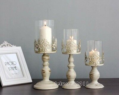 Classic French White Wash Wrought Iron Windproof Candle Stand Holder Home Light
