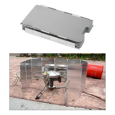 Outdoor Cooking 9 Plates Fold Camping Cooker Stove Wind Shield Screen Aluminum
