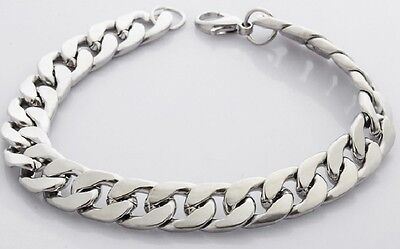 Heavy Mens 20cm 316L Stainless Steel Silver Curb Link Chain Bracelet Chunky Bike