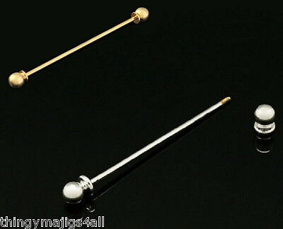 Gold / Silver Colour Tie Collar Pin Bar Round Screw End Shirt Necktie Neck Gifts