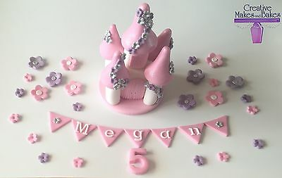 Castle Princess Fairy Flowers Personalised Edible Cake Topper ANY COLOUR