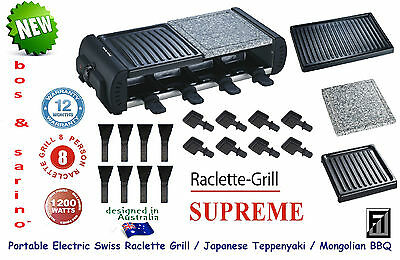 The Best Raclette Grill 8 Person with 3 Cooking Surfaces 8 Pans & 8 Spatulas NEW