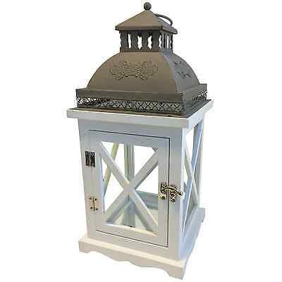 Haven Modern Provincial ESTATE LANTERN Distressed White Timber – Small Or Large