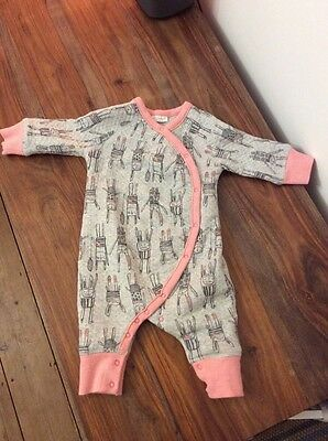 NEXT Baby Girls Grey & Pink BUNNY Quilted Sleepsuit / Romper