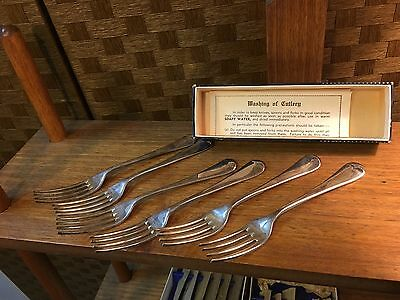 6 Vintage English Leinster Silver Plated Entree Dessert Forks in Original Box