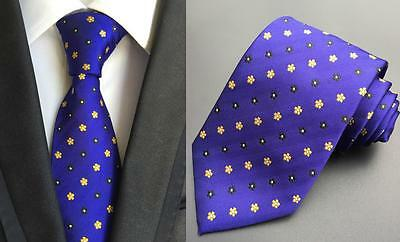 Blue, Yellow and White Handmade 100% Silk Tie