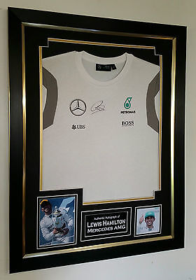 *** Rare LEWIS HAMILTON of Mercedes Signed SHIRT Autograph Display ***