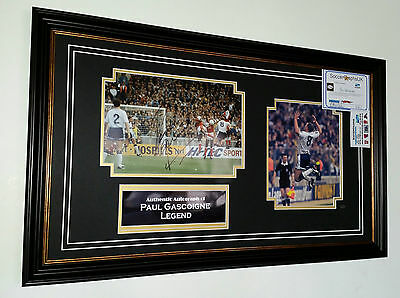 NEW FRAMED Paul Gascoigne of TOTTENHAM Signed PHOTO Picture Autograph Display