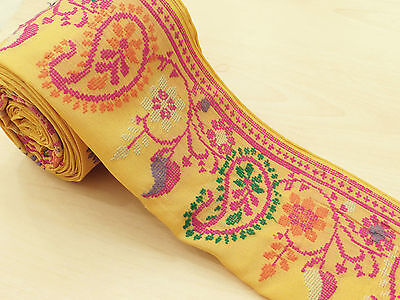 Vintage Indian Sari Border Embroidered Trim Sewing Sarong Yellow Ribbon Lace 1YD