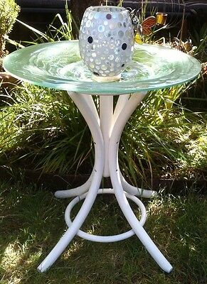 Bird Bath+ Glass Large Candle Holder with A Glass Butterfly.