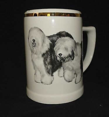 Old English Sheep Dog Beer Mug Stein Graphic Art  By Robert Christie