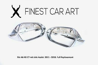 Brushed Aluminium Look Mirror caps for Audi A6 4G C7 S-Line S6 RS6 Side Assist