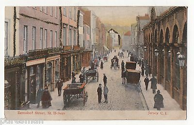 Jersey, Beresford Street, St.heliers. Vintage Postcard With Sparkle.