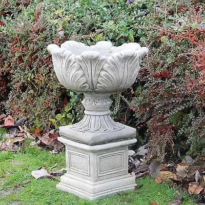 Large Tulip Vase On Plinth Flower Pot Planter Stone Garden Ornament Aged Decor