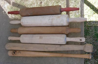 Antique / Vintage Rolling Pin Lot of 4, Wood + 2 Wooden Bats Fair-Good Condition