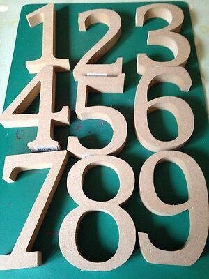 9 x  Wooden number, 1-9, MDF,13 Cm tall, Free Standing, Ready To Paint,blanks.