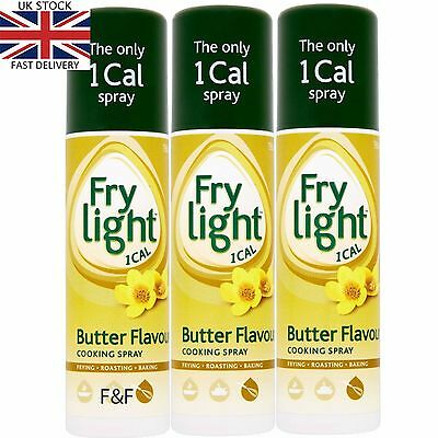 3 x FRYLIGHT BUTTER FLAVOUR COOKING OIL 1 CALORIE PER SPRAY-  WORLDWIDE SHIPPING