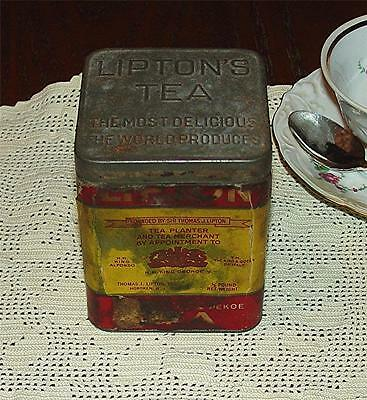 WONDERFUL VINTAGE 1930's LIPTON'S TEA COLLECTIBLE PLANTER CEYLON TEA TIN (EMPTY)