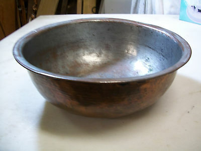 """Antique Hand Made Copper Bowl, Tinned, Magnificent Heavy Old Bowl, 8-3/4"""" Wide"""