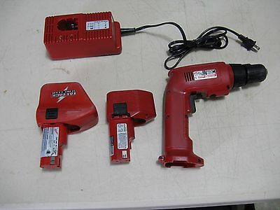 "Milwaukee 0401-1Hi-Torque 12V Cordless Drill 3/8"" Fat Pack Battery, Charger, Box"