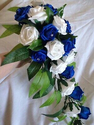 Wedding Flower Royal Blue And White Rose Brides Artificial Teardrop Bouquet