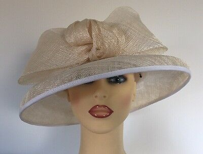 Ladies Occasion Formal Wedding Races Hat Ivory large Bow