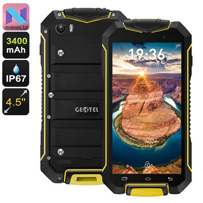 "Geotel A1 Smartphone Rugged 4.5"" Android 7.0 Quad Core IP67 8MP Dual SIM Giallo"