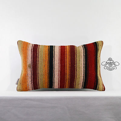 Boho Colorful Lumbar Kilim Rug Pillow Turkish Decoration Accent Interior Cushion