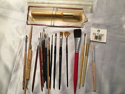 Mixed Lot of 20 Art Artist Craft Paint Stencil Brushes Sculpting tools Used  New