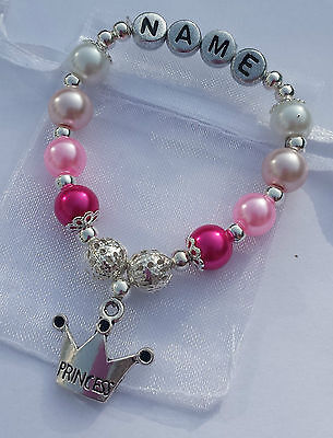Lovely Personalised Girls Princess Charm Bracelet,  Birthday/Eid 4,5,6,7,8 year