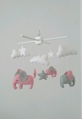 Pink and grey elephant mobile - cute little nursery mobile