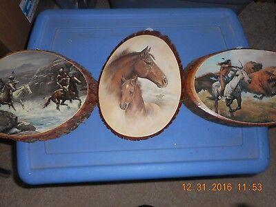 Lot of 3 Wood Plaques, Man Hunting Buffalo, Men Riding and horses