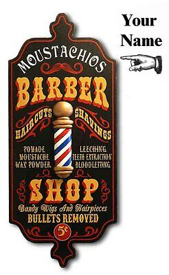 Barber Shop Personalized Dubliner Wood Sign Pole, Man Cave, Office, Wall Decor