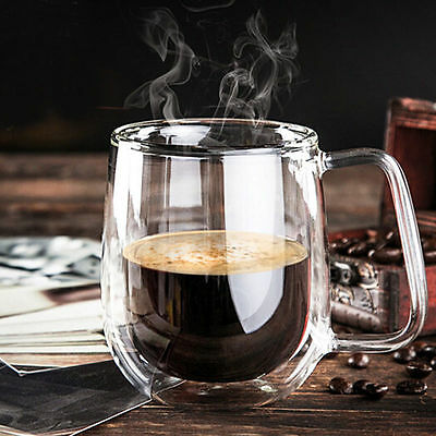 Heat-Resisting Double Wall Insulated Espresso Coffee Cups Clear Glass Tea Mugs