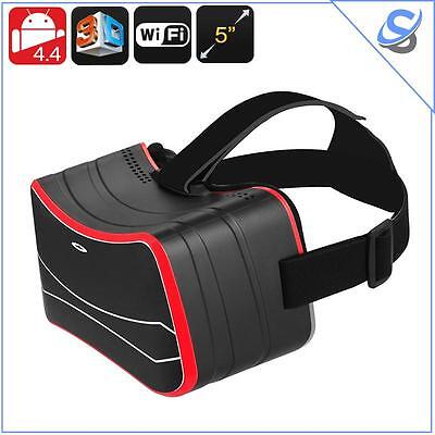 "Occhiali Virtuali VR 3D Sensore Giroscopio Display 5"" CPU Quad Core Bluetooth"