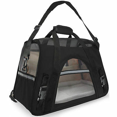 Pet Carrier Soft Sided Cat Dog Comfort Black Travel Bag Airline Approved Black