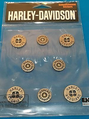 Harley Davidson Button Stickers By EK Success HDSP09 Metal Buttons #2 2004 NEW