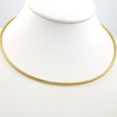 "14K Yellow Gold Tube Snake Flex Chain Link Necklace 16""  2mm QZ"