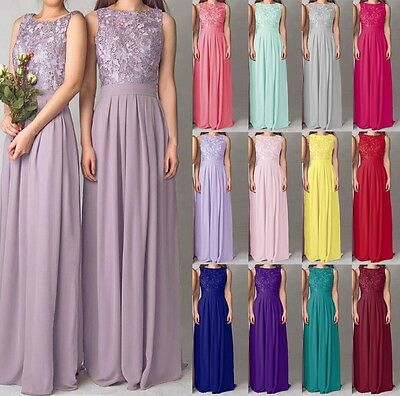 Long Lace Formal Chiffon Evening Ball Gown Party Prom Bridesmaid Dress Size 6-18