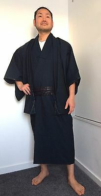 Authentic custom made Japanese kimono set for men, kmono jyuban & haori (I826)