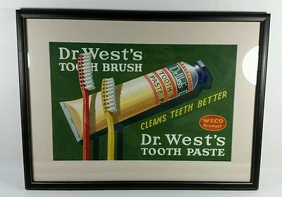 """Original Art Hand Painted Dr. Wests Tooth Brush Tooth Paste WECO Products 23x17"""""""