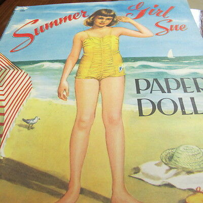 Summer Girl Sue Cut Out Paper Doll 1563 Winter Girl Wendy Saalfield Beach
