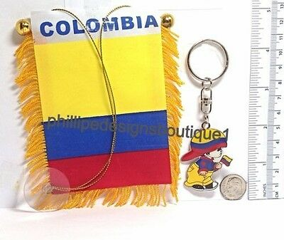 Colombia Flag Colombian Flag Mini Banner rear view mirror window key ring boy