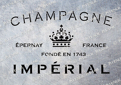 French Imperial Champagne CI A5 STENCIL Vintage Wine Crate Furniture Wood Fabric