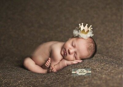 Sparkle Gold Glitter Princess Tiara Crown With Tulle Newborn Photography Prop