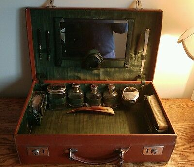 TOP QUALITY GENTS FITTED LEATHER TRAVEL CASE c1930 - CLASSIC ART DECO STYLING