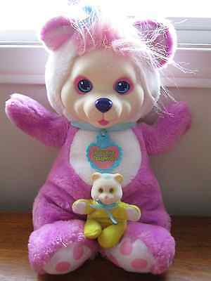 Vintage Hasbro 1992 BABY CUB SURPRISE *MAMA BEAR + 1 CUB* Plush Toy Pink/Purple