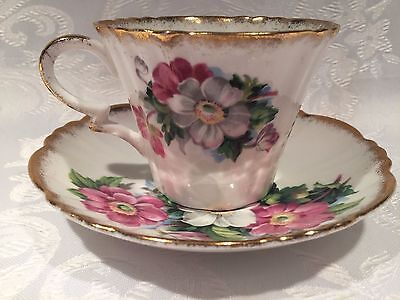Royal Standard Tea Cup and Saucer - Flowers with Gold Trim - Pattern 923