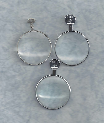 3 Magnifying type Trial or Optical Monocle lenses